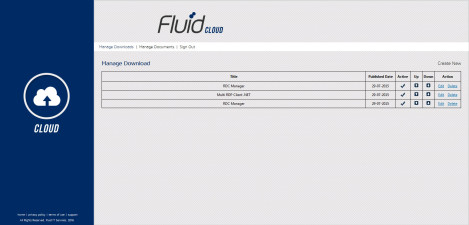 Fluid IT - Interface Admin Manage Downloads