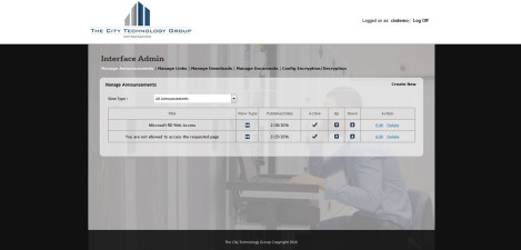 CityTechGroup - Interface Admin Manage Announcements