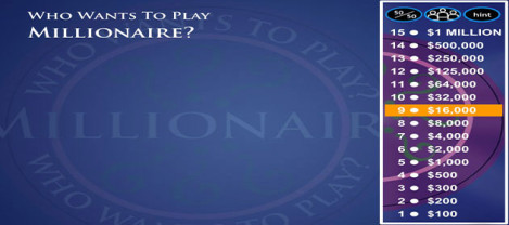 Millionaire – This is who wants to be a Millionaire game with 3 lifeline options.