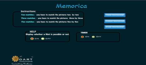Memorica – it is a memory game which can be solved using hint and timer