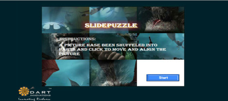 Slide Puzzle – An image is cut and shuffled which needs to be aligned to form the original image by sliding each pieces