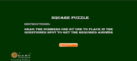 Square Puzzle – Drag the numbers in to question spot to get the required answer