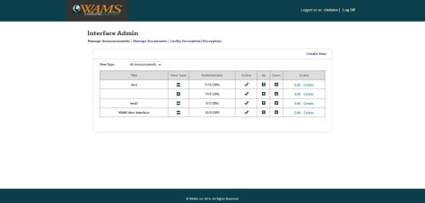 WAMS Inc - Interface Admin Manage Announcements