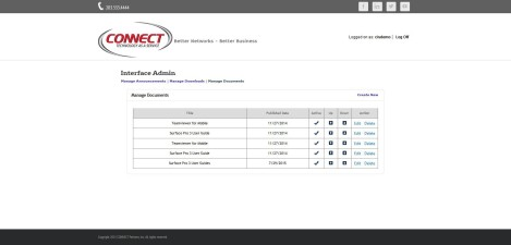 CONNECT Computer – Interface Admin Manage Documents