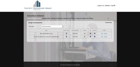 CityTechGroup – Interface Admin Manage Announcements