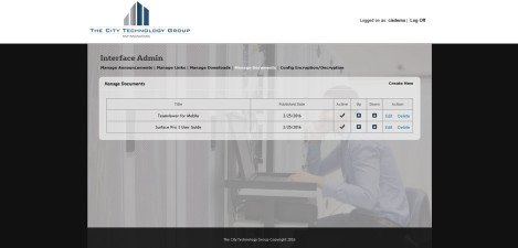CityTechGroup – Interface Admin Manage Documents
