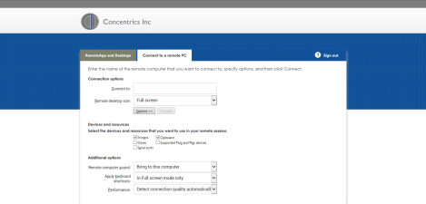Concentrics Inc – RD Web Access 2012 Connect to a Remote PC