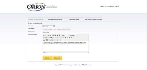 Orion Law - Interface Admin Create Announcement
