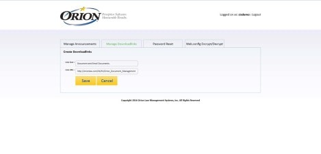 Orion Law - Interface Admin Create Downloadlinks