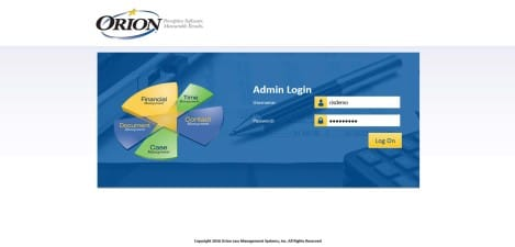 Orion Law - Interface Admin Login