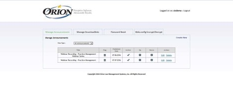 Orion Law - Interface Admin Manage Announcement