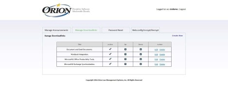 Orion Law - Interface Admin Manage Downloadlinks