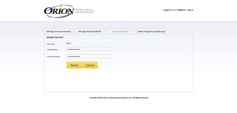 Orion Law - Interface Admin Manage Password Reset