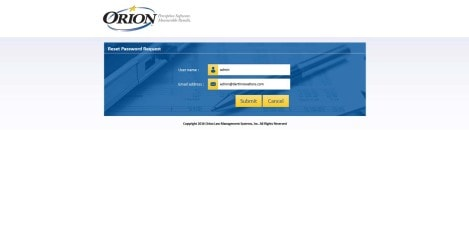 Orion Law - MS RDWEB Reset Password Request