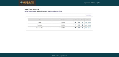 WAMS Inc – Interface Admin Manage Documents