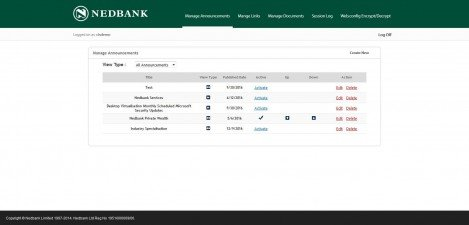 NEDBANK - Interface Admin Manage Announcements