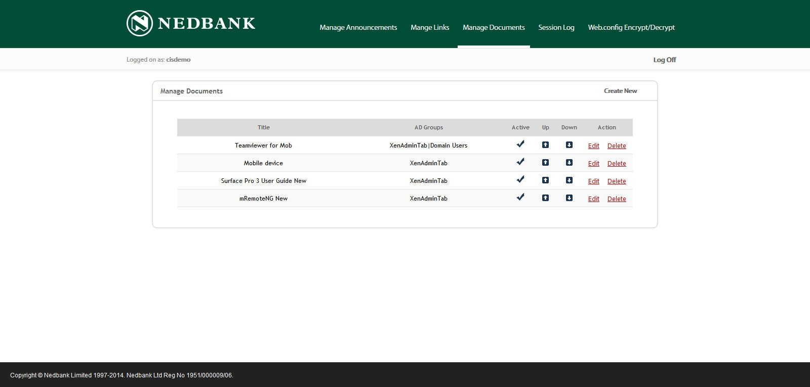 NEDBANK - Interface Admin Manage Documents