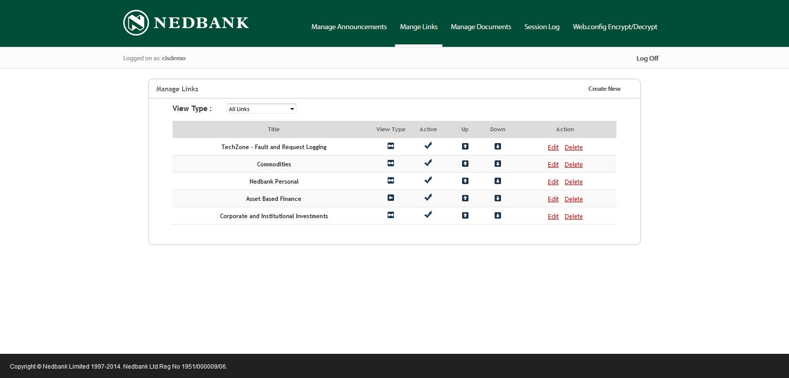 NEDBANK - Interface Admin Manage Links