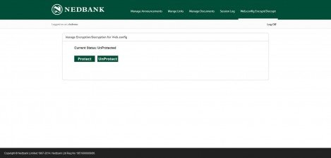 NEDBANK - Interface Admin Manage Engryption and Decryption