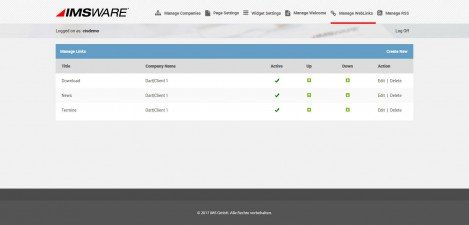 IMSWARE - Interface Admin Manage Links