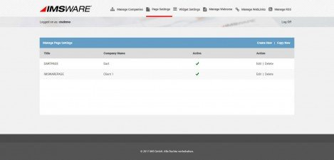 IMSWARE - Interface Admin Manage page settings