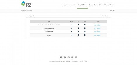 P2 Energy Solutions - Interface Admin Manage Links