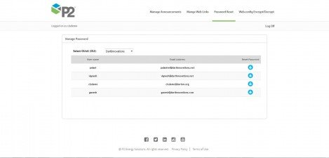 P2 Energy Solutions - Interface Admin Manage Password